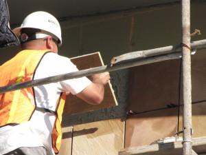Exterior veneer sandstone installation